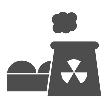 Power plant solid icon. Nuclear plant vector illustration isolated on white. Industrial factory glyph style design, designed for web and app. Eps 10. Illusztráció
