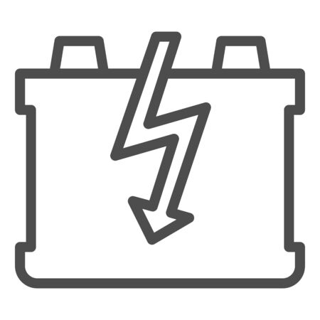 Car battery line icon. Charge battery vector illustration isolated on white. Accumulator outline style design, designed for web and app