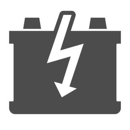 Car battery solid icon. Charge battery vector illustration isolated on white. Accumulator glyph style design, designed for web and app. Çizim