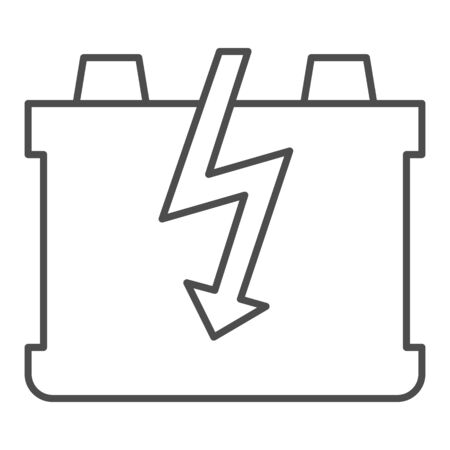 Car battery thin line icon. Charge battery vector illustration isolated on white. Accumulator outline style design, designed for web and app. Çizim