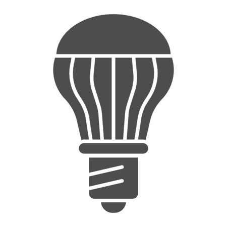 Energy saving light bulb solid icon. Energy efficient lamp vector illustration isolated on white. Electricity saving lamp glyph style design, designed for web and app.