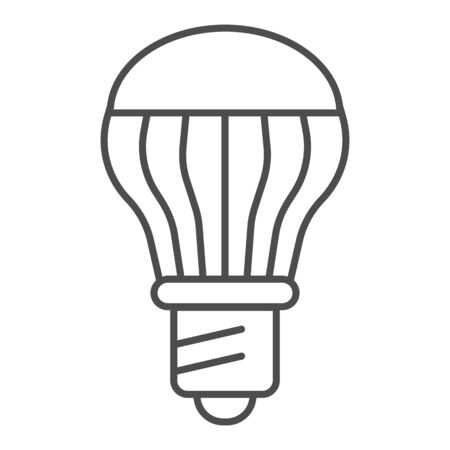 Energy saving light bulb thin line icon. Energy efficient lamp vector illustration isolated on white. Electricity saving lamp outline style design, designed for web and app.