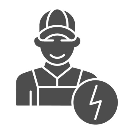 Electrician solid icon. Man electric vector illustration isolated on white. Electricity worker glyph style design, designed for web and app.