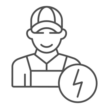 Electrician thin line icon. Man electric vector illustration isolated on white. Electricity worker outline style design, designed for web and app.  イラスト・ベクター素材
