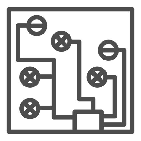 Circuit board line icon. Electric scheme vector illustration isolated on white. Microchip outline style design, designed for web and app. 写真素材 - 132079125