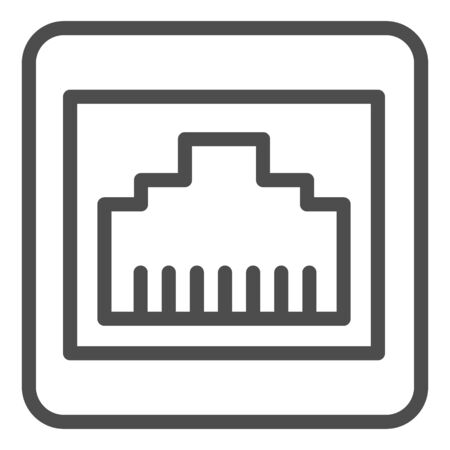 Internet plug connector line icon. Network port vector illustration isolated on white. Computer connector outline style design, designed for web and app.