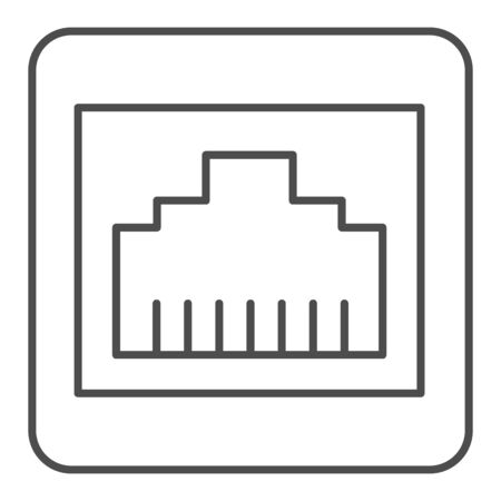 Internet plug connector thin line icon. Network port vector illustration isolated on white. Computer connector outline style design, designed for web and app.