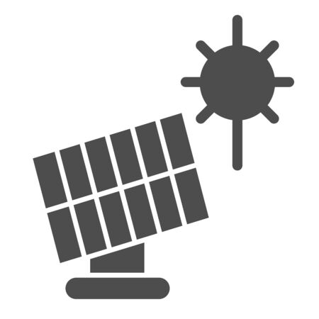Solar panel solid icon. Sun energy vector illustration isolated on white. Solar power glyph style design, designed for web and app.