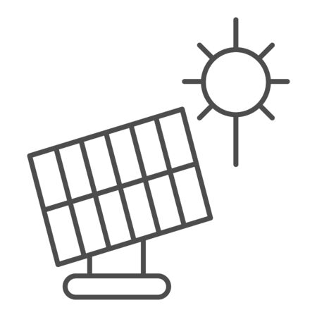 Solar panel thin line icon. Sun energy vector illustration isolated on white. Solar power outline style design, designed for web and app.