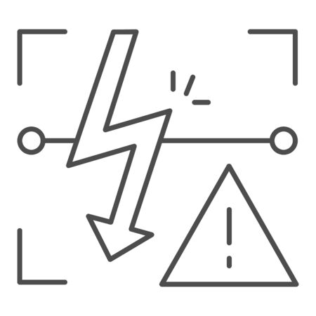Energized symbol thin line icon. Triangle electric hazard sign vector illustration isolated on white. High voltage caution outline style design, designed for web and app.