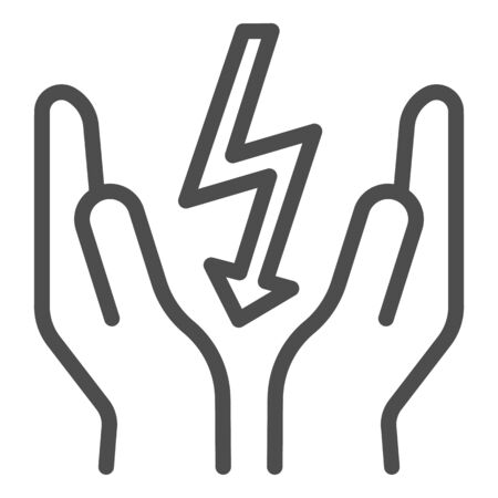 Lightning bolt in hands line icon. Save electricity vector illustration isolated on white. Electrician safety outline style design, designed for web and app. Stock fotó - 132079472