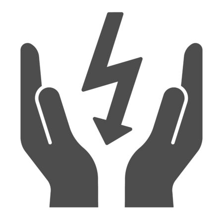Lightning bolt in hands solid icon. Save electricity vector illustration isolated on white. Electrician safety glyph style design, designed for web and app.