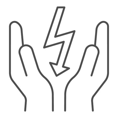 Lightning bolt in hands thin line icon. Save electricity vector illustration isolated on white. Electrician safety outline style design, designed for web and app. Stock fotó - 132079474