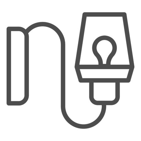 Wall lamp line icon. Wall light decoration vector illustration isolated on white. Bra light outline style design, designed for web and app. Ilustração