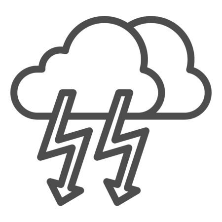 Cloud with thunder line icon. Lightning with cloud vector illustration isolated on white. Rainy climate outline style design, designed for web and app. Illusztráció