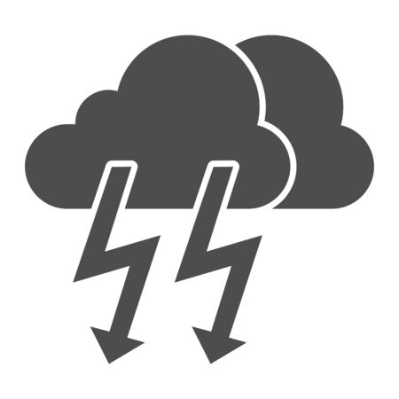 Cloud with thunder solid icon. Lightning with cloud vector illustration isolated on white. Rainy climate glyph style design, designed for web and app. Illusztráció