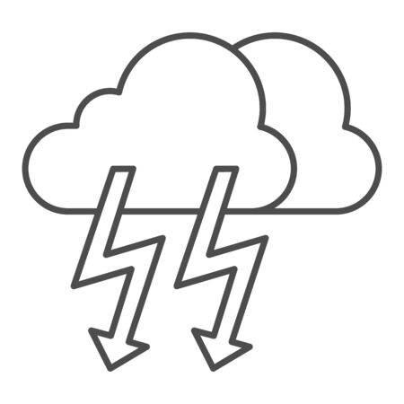 Cloud with thunder thin line icon. Lightning with cloud vector illustration isolated on white. Rainy climate outline style design, designed for web and app. Stock fotó - 132079821