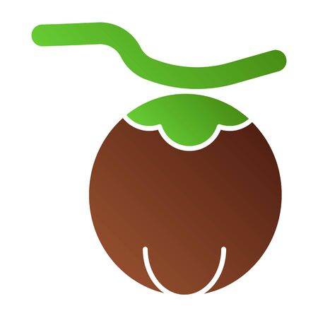 Coconut flat icon. Exotic fruit color icons in trendy flat style. Tropical food gradient style design, designed for web and app. Çizim