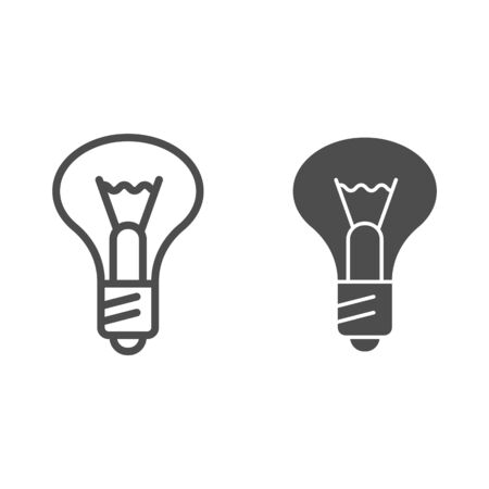Light bulb line and glyph icon. Lamp vector illustration isolated on white. Illumination outline style design, designed for web and app.