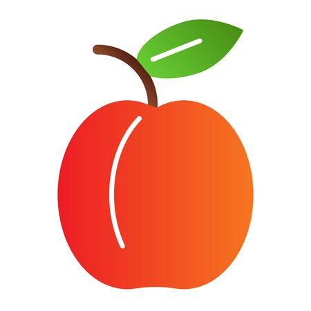 Apricot flat icon. Summer fruit color icons in trendy flat style. Healthy food gradient style design, designed for web and app. Stok Fotoğraf - 132096794