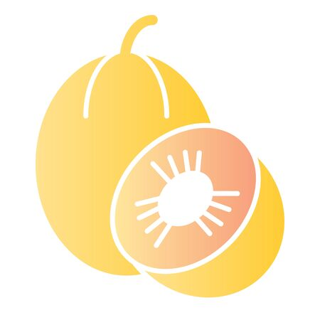 Melon flat icon. Sweet fruit color icons in trendy flat style. Vitamin gradient style design, designed for web and app.  イラスト・ベクター素材