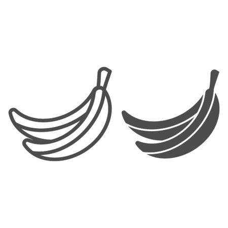 Banana line and glyph icon. Fruit vector illustration isolated on white. Healthy food outline style design, designed for web and app.