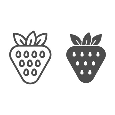 Strawberry line and glyph icon. Vitamin vector illustration isolated on white. Healthy food outline style design, designed for web and app.  イラスト・ベクター素材