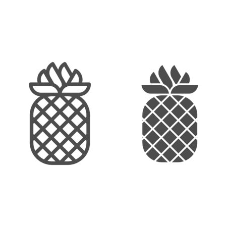 Pineapple line and glyph icon. Tropical fruit vector illustration isolated on white. Healthy food outline style design, designed for web and app.  イラスト・ベクター素材