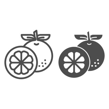 Orange line and glyph icon. Fresh fruit vector illustration isolated on white. Healthy vitamin outline style design, designed for web and app.