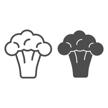 Broccoli line and glyph icon. Vitamin food vector illustration isolated on white. Organic vegetable outline style design, designed for web and app.  イラスト・ベクター素材