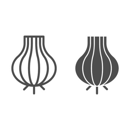 Onion line and glyph icon. Pungent food vector illustration isolated on white. Organic vegetable outline style design, designed for web and app.