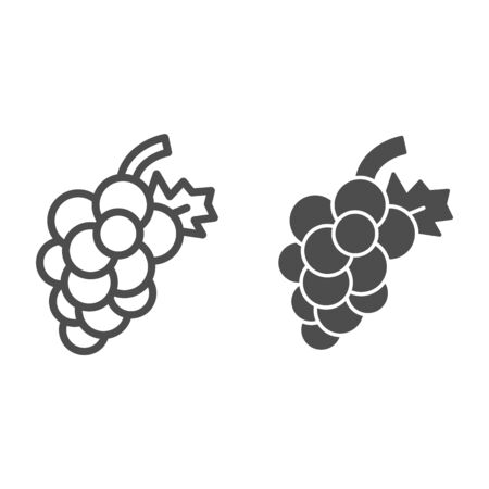 Grape line and glyph icon. Fruit vector illustration isolated on white. Vitamin outline style design, designed for web and app.