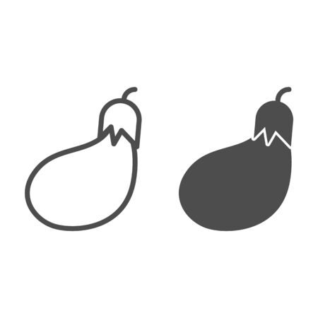 Eggplant line and glyph icon. Grocery vector illustration isolated on white. Vegetable outline style design, designed for web and app.