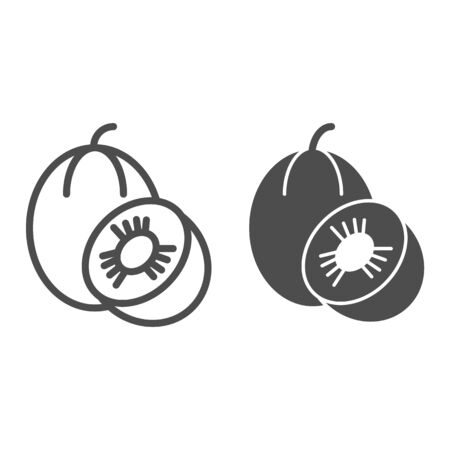 Melon line and glyph icon. Sweet fruit vector illustration isolated on white. Vitamin outline style design, designed for web and app.