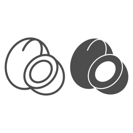 Coconut line and glyph icon. Tropical nut vector illustration isolated on white. Vitamin outline style design, designed for web and app.