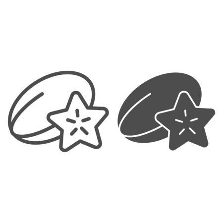 Starfruit line and glyph icon. Tropical food vector illustration isolated on white. Carambola outline style design, designed for web and app.  イラスト・ベクター素材