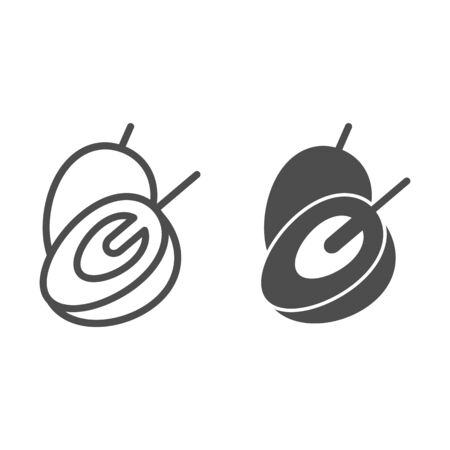 Plum line and glyph icon. Vitamin food vector illustration isolated on white. Sweet fruit outline style design, designed for web and app.  イラスト・ベクター素材