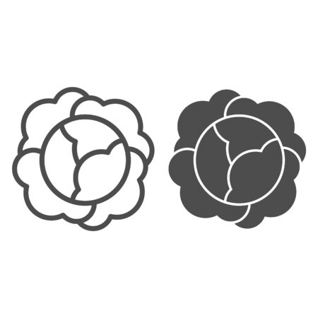 Cabbage line and glyph icon. Vitamin food vector illustration isolated on white. Vegetable outline style design, designed for web and app.  イラスト・ベクター素材