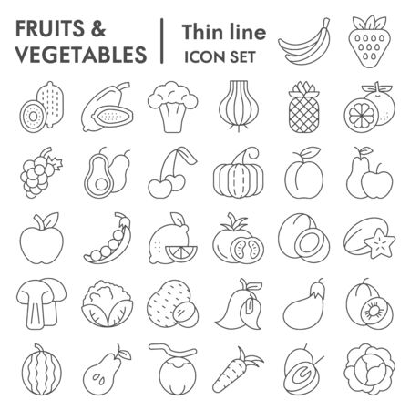 Fruits and vegetables thin line icon set, farm food symbols collection, vector sketches, illustrations, vitamin signs linear pictograms package isolated on white background
