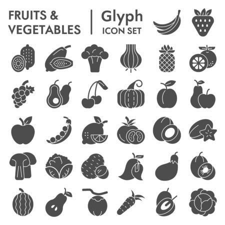 Fruits and vegetables glyph icon set, farm food symbols collection, vector sketches, illustrations, vitamin signs solid pictograms package isolated on white background,