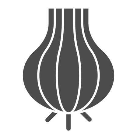 Onion solid icon. Pungent food vector illustration isolated on white. Organic vegetable glyph style design, designed for web and app.  イラスト・ベクター素材