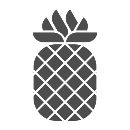 Pineapple solid icon. Tropical fruit vector illustration isolated on white. Healthy food glyph style design, designed for web and app.