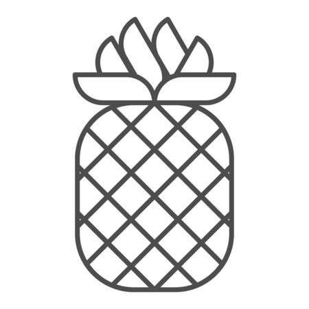 Pineapple thin line icon. Tropical fruit vector illustration isolated on white. Healthy food outline style design, designed for web and app.