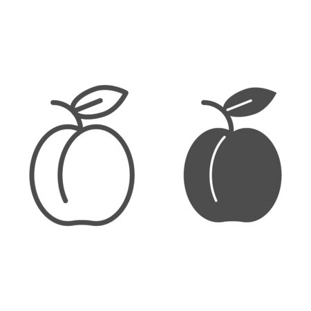 Apricot line and glyph icon. Summer fruit vector illustration isolated on white. Healthy food outline style design, designed for web and app. Stok Fotoğraf - 132080329