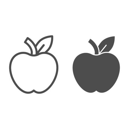 Apple line and glyph icon. Fruit vector illustration isolated on white. Healthy food outline style design, designed for web and app.