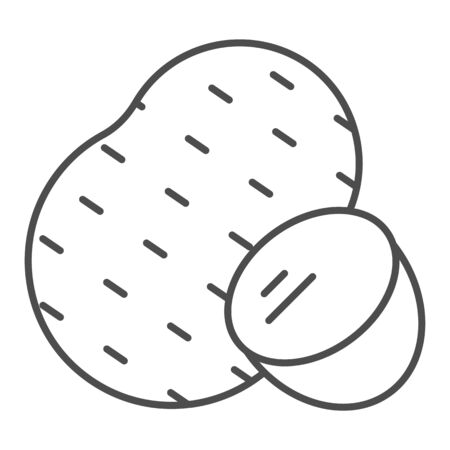 Potato thin line icon. Agriculture vector illustration isolated on white. Vegetable outline style design, designed for web and app.  イラスト・ベクター素材