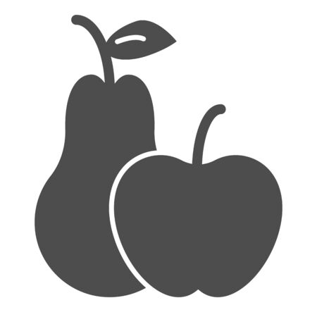 Apple and pear solid icon. Summer fruits vector illustration isolated on white. Vitamins glyph style design, designed for web and app.