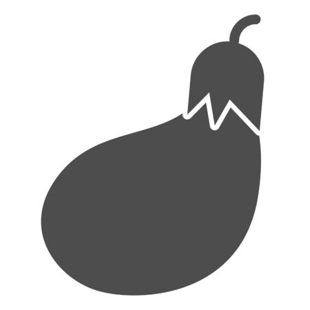 Eggplant solid icon. Grocery vector illustration isolated on white. Vegetable glyph style design, designed for web and app. 写真素材 - 132097726