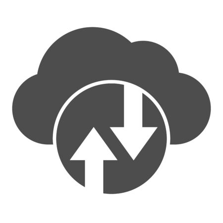 Cloud computing solid icon. Cloud hosting vector illustration isolated on white. Data cloud glyph style design, designed for web and app.  イラスト・ベクター素材