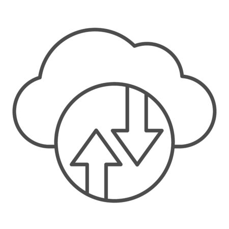 Cloud computing thin line icon. Cloud hosting vector illustration isolated on white. Data cloud outline style design, designed for web and app.  イラスト・ベクター素材